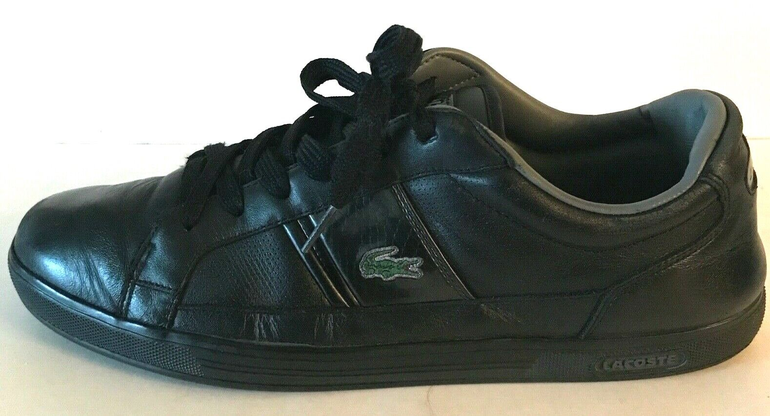 Lacoste Men's Black Leather Casual Sneakers Shoes Green Alligator #21233 US 11