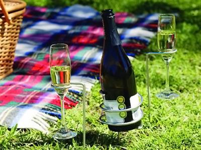 Outdoor Wine Bottle & Wine Glass Holder Set Camping Picnics Garden Dining Drink