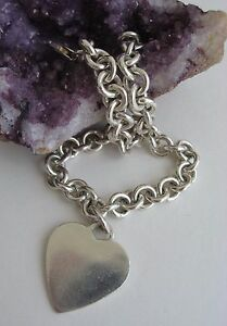 Michael-Anthony-Sterling-Silver-Engravable-Heart-Charm-Bracelet-Signed-MA