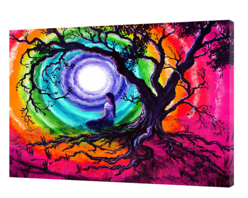 TREE OF LIFE MEDITATION PHOTO  PRINT ON FRAMED CANVAS WALL ART HOME DECORATION