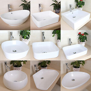 Bathroom Porcelain Ceramic Vessel Sink Basin Bowl Faucet Popup Drain - Popup with bathroom