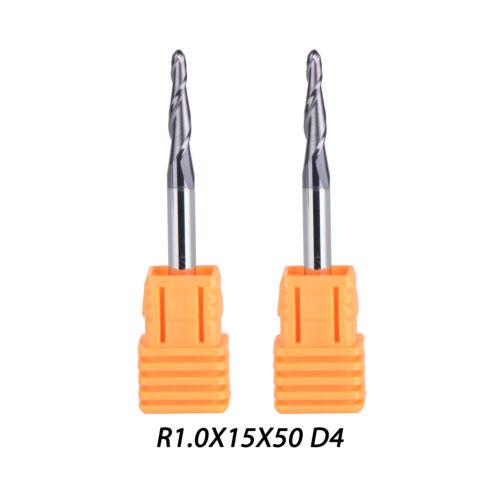 2 Pcs R1.0MM D4 Carbide Tapered End Mills Ball Nose 2 Flutes HRC55 CNC Cut Tool
