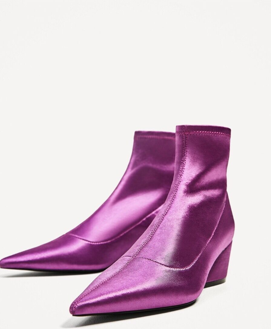 LAST ONE! RARE! NWT ZARA Pointed Elastic Ankle Boots Booties Purple Sz 6 US