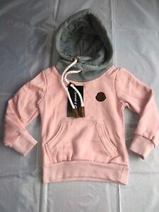 Maedchen-Kapuzenpulli-Pullover-Oberteil-rosa-grau-Gr-98-104-110-116-146-152