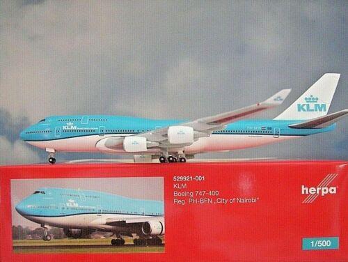 Herpa Wings 1:500 Boeing 747-400 KLM City of Nairobi 529921-001 Modellairport500
