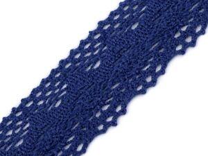 Spitze Spitzenband Klöppelspitze 100% Baumwolle blau 40mm breit  Spitzenborte
