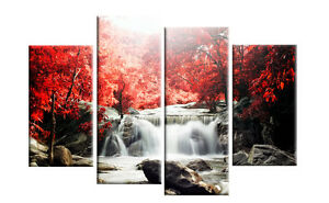 red autumn forest waterfall canvas wall art picture 4 panel split