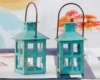 Teal Blue Rustic Vintage Tea Light Candle Holder Lantern Wedding Favor 10 15 20