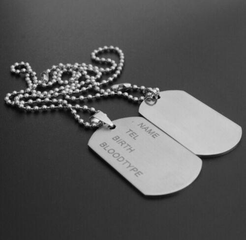 Cadeau, Plaqué Argent Personnalisé Armée Plaques Militaires Collier Nom