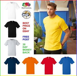 Lot-de-5-Homme-100-T-shirt-en-Coton-Fruit-Of-The-Loom-Heavy-Tee-Plain-T-Shirt