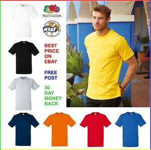 5-PACK-MENS-100-COTTON-T-SHIRT-FRUIT-OF-THE-LOOM-Heavy-Tee-Plain-T-SHIRT