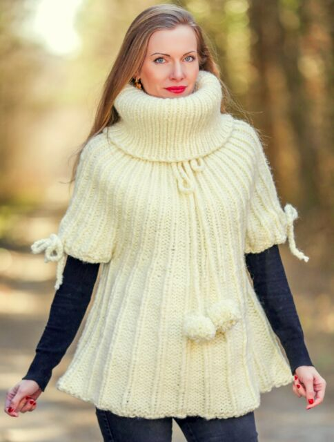 Wool Nordic poncho in black grey and white by SuperTanya
