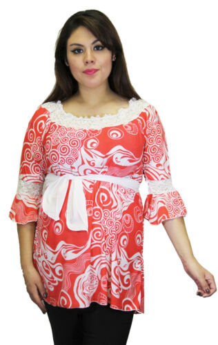 Red Geometric Long Sleeve Maternity Blouse Womens Top Babyshower