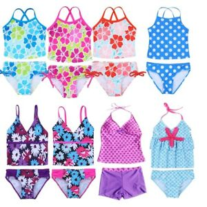 8f7e84f90e122 Image is loading Girls-Kid-Floral-Print-Tankini-Swimsuit-Swimwear-Bathing-
