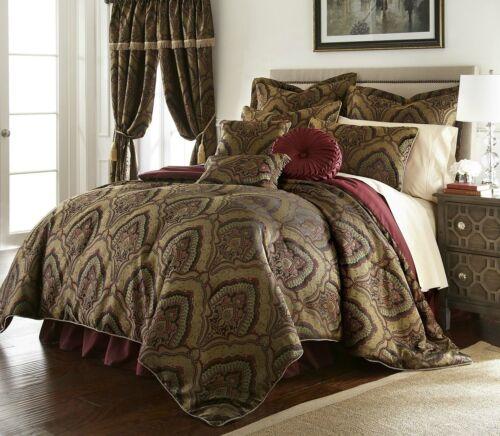 Deluxe New 9 pcs Gold//Maroon  Oversized Paisley Comforter Set Cal King Queen