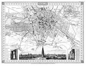 MAP-ANTIQUE-1848-MEYER-BERLIN-PICTORIAL-OLD-LARGE-REPLICA-POSTER-PRINT-PAM0308