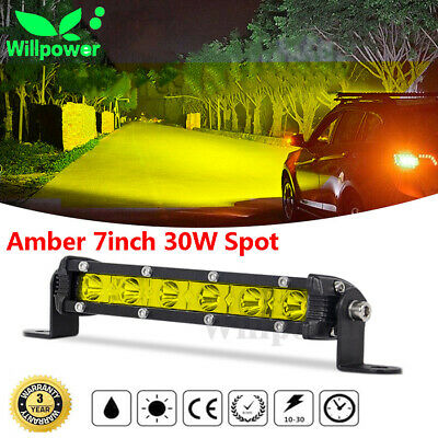 Amber 20inch 90W Spot Slim Single Row Fog LED Work Light Bar Car SUV Off road