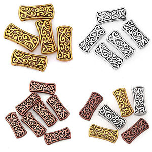 5Pcs-20Pcs-Tibetan-Silver-Hollow-Carved-3-Hole-Spacer-Beads-Bar-Charms-Diy