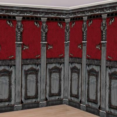per roll 2pk Gothic Mansion Room Rolls 6m x 1.2m Halloween Decorations