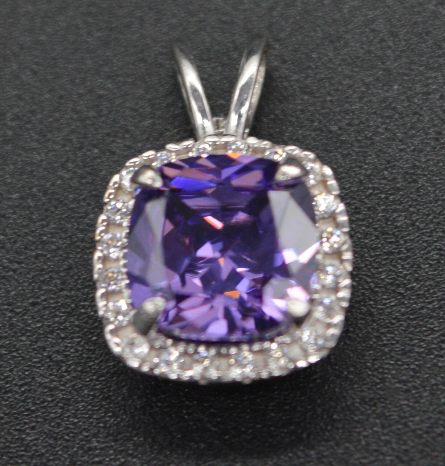 PM03 Created Purple Diamond Cushion Pendent 1.50ct 14k White gold