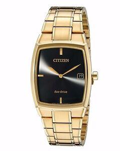 Citizen Eco-Drive Men's Black Dial Gold-Tone 44mm Bracelet Watch AU1072-52E