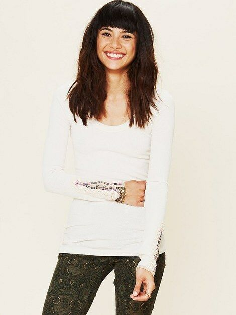 Free People Fiesta Meadow Embellished Ivory Cuff Thermal Top Shirt Rare