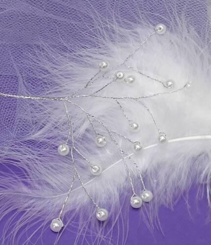 1 Perlenzweig Perlendraht Kopfschmuck Perlen Brautschmuck Perle am Draht weiß