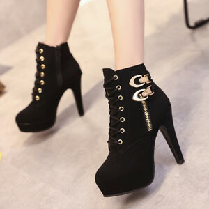 265b9650861 Women s Sexy Boots High Heel Platform Party Ankle Leather Shoes Zip ...