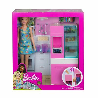 Barbie Doll And Furniture Kitchen Set W Working Water Dispenser 3 Accesso Ebay