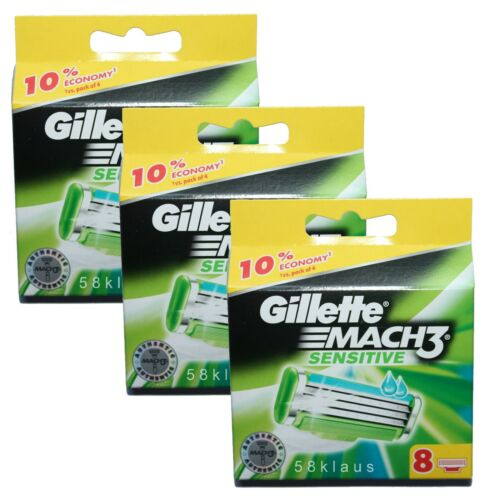 24 Gillette Mach 3 Sensitive RasierKlingen 24 Stück 3x 8er Set in OVP