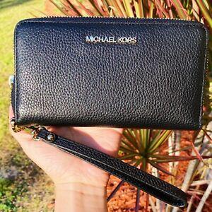 Michael Kors Jet Set Travel Large Flat Zip MF Phone Case Wristlet Wallet Black