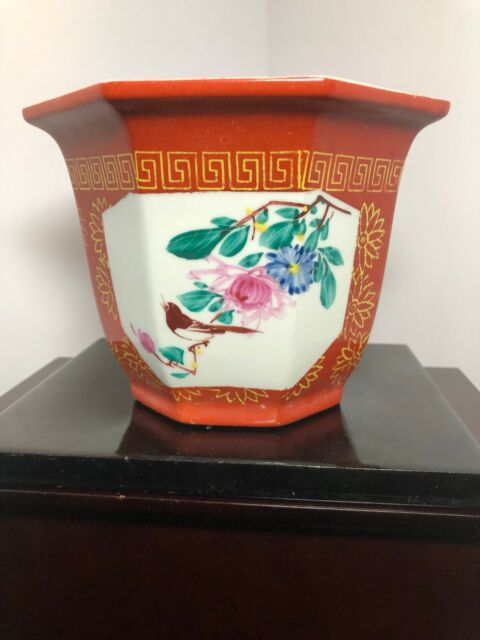 Vintage~Rare~Zhong Guo Jingdezhen Plus ~ Kaishu Mark Chinese Porcelain Planter