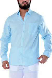 Mens-Bohio-Linen-Mint-Roll-Up-Casual-Long-Sleeve-Shirt-S-2XL-MLS3103
