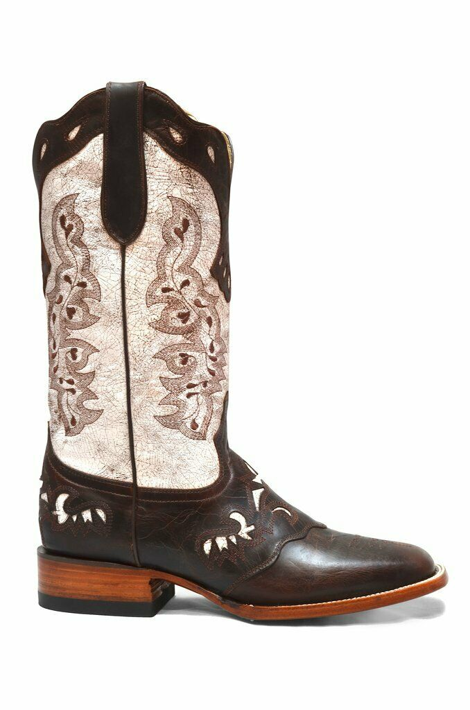 Women's Cowgirl Western Rodeo Boots White Leather REDHAWK 05211 Size 5-10 (B, M)