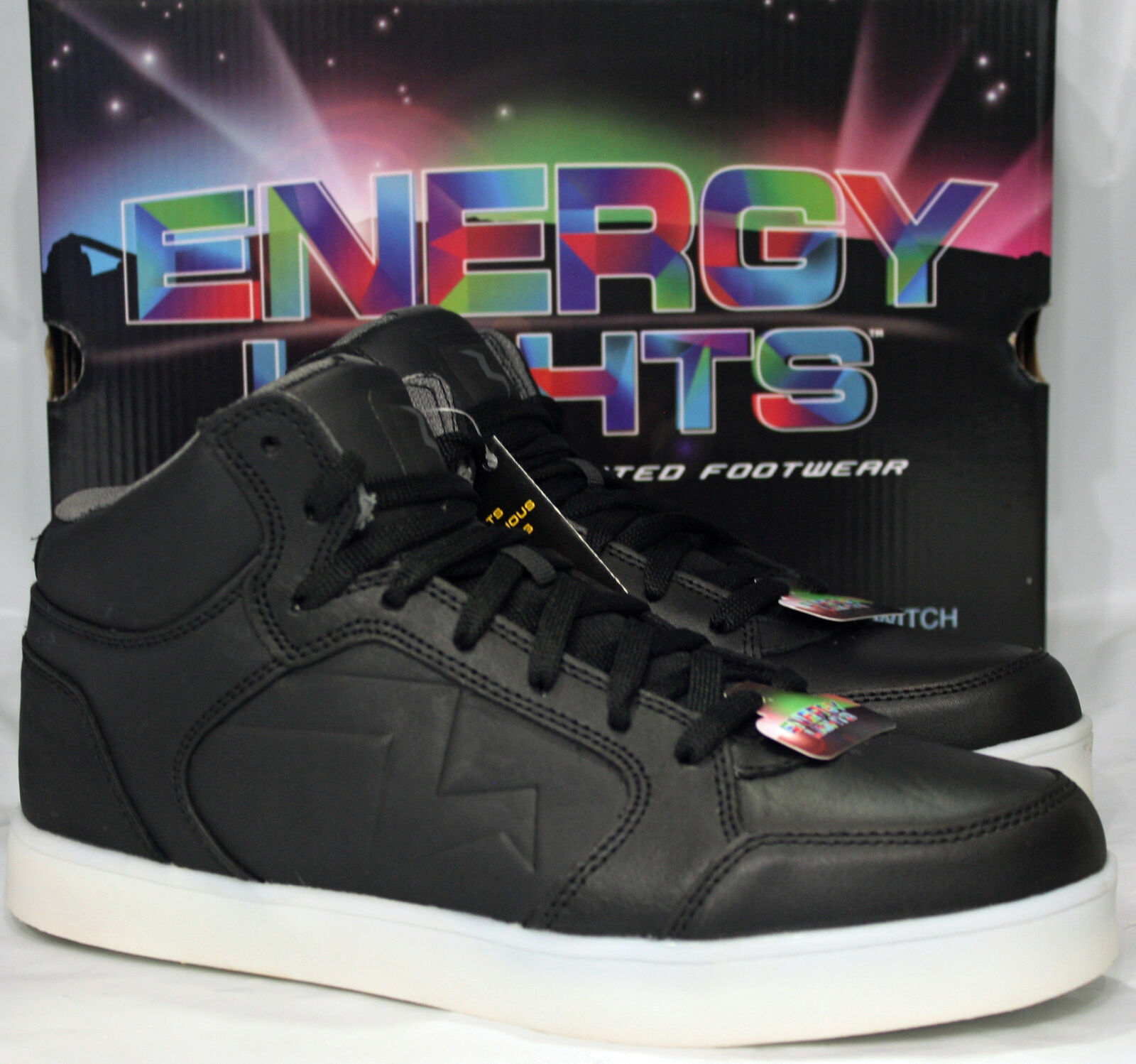 Men Skechers Energy Lights-Parkey Hoops Shoe MSRP $82 52076eg/BLK Size 9
