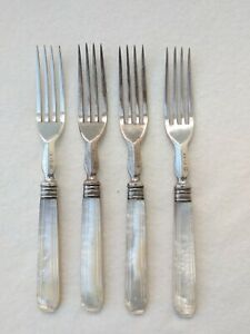 Vintage-Silver-Plate-EPNS-M-Forks-Mother-of-Pearl-Handles-x-4-MOP-Forks
