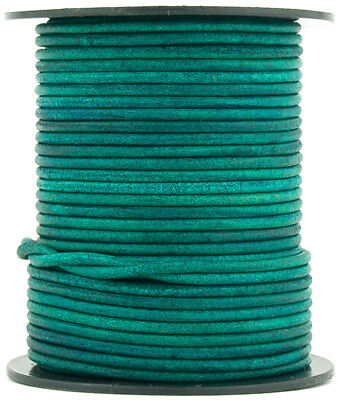 Xsotica® Blue Natural Dye Round Leather Cord 1.0mm 25 meters 27 yards