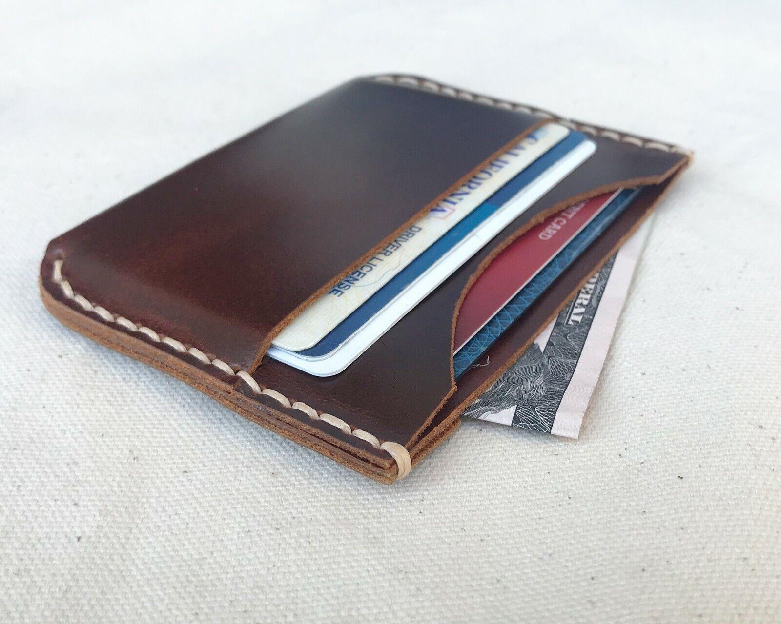 Wine Leather Wallet - High Quality Slim Genuine Leather Handmade.