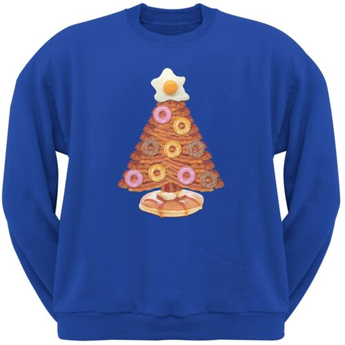 Breakfast Bacon And Eggs Christmas Tree Blue Adult Crew Neck Sweatshirt