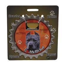 Pit Bull Terrier dog coaster magnet bottle opener Bottle Ninjas magnetic Blue