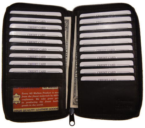 Genuine Leather Zip Around Long 19 Credit Card//Check Book ID Holder Safe Wallet