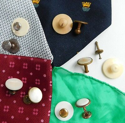 Vintage collar studs for tunic shirts CHOOSE A PAIR some MoP others tagua nut a