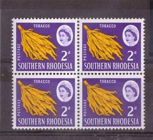 S-rhodesia-qe11-1964-defins-2D-tabac-SG-94-neuf-sans-charniere-Bloc-4