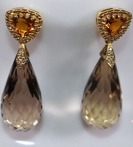 Details About Smoky Quartz Citrine Diamond Dangling Earrings In 18k Yellow Gold