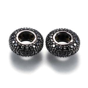 Black Rhinestone Euro Beads Large Hole