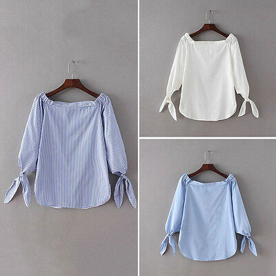 Women Ladies Celeb Frill Off Shoulder Plain Top Shirt 3/4 Sleeve Bowknot