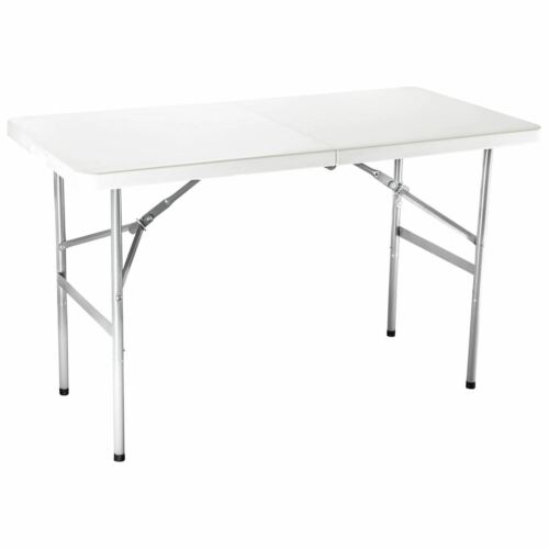 6FT Portable Folding White Trestle Table Heavy Duty Plastic Camping Garden Party