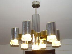 Lampadari Vintage Anni 70.Lampadario A 6 Braccia In Vetro E Acciaio Vintage Anni 70 Ebay