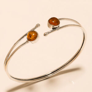 New-Offer-Free-Shipping-Amber-Bangel-Cuff-Silver-Plated-Gemstone-Jewellery-T1