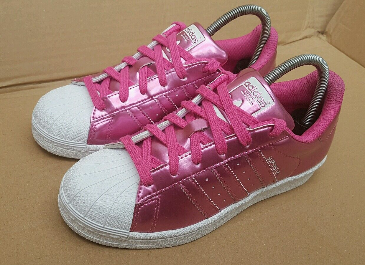 GORGEOUS ADIDAS SUPERSTAR TRAINERS WHITE AND ICE PINK TRAINERS SUPERSTAR SIZE 6.5 UK RARE EXCELLENT bf4453